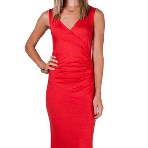 Maxi Knit Wrap Dress in Poppy Red Medium NEW!